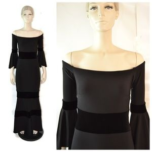 Xscape Black Bell Sleeves Off Shoulder Gown Size 2